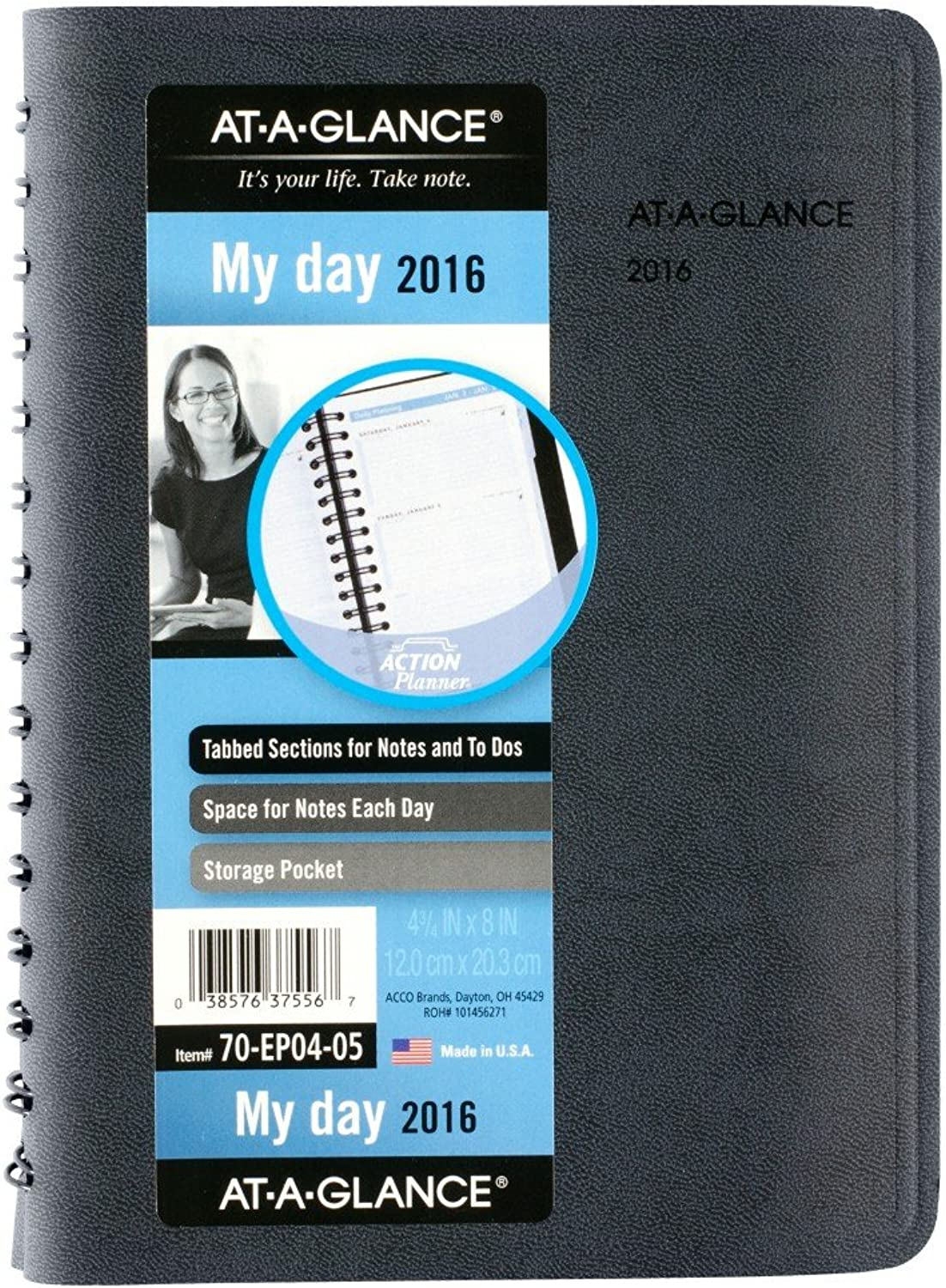AT-A-GLANCE Daily Appointment Book   Planner 2016, The Action Planner, 4.75 x 8 Inches, schwarz (70-EP04-05) by At-A-Glance B00WUUUWJ2   Sale Deutschland