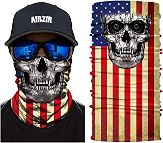 Airzir American Flag Skull Face Mask Breathable Seamless Motorcycle Face Mask Wind Dust UV Protection Moisture Wicking Microfiber Face Mask for Motorcycle Riding Cycling Hiking Climbing (Flag-261)
