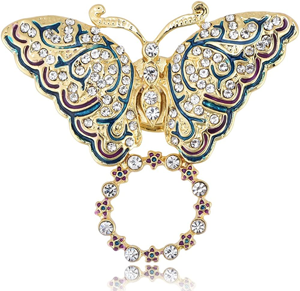 Quantity limited RUXIANG sale Crystal Butterfly Flower Brooch Pins Holder Mag Eyeglass