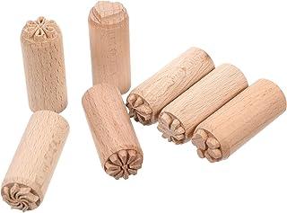 EXCEART Outils de Poterie en Bois Motif Floral Tampon Rond pour Accessoires d'impression de Scrapbooking d'argile 2 Cm 7 P...