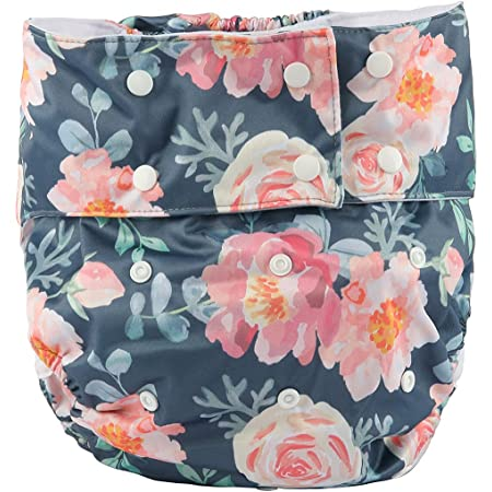 Sigzagor Teen Adult Cloth Diaper Nappy Reusable Washable for Disability (Floral)