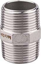Hex Nipple 1 Inch Male NPT - DERPIPE Stainless Steel 304 Threaded Pipe Fitting for Brew Kit, Home Piping Application