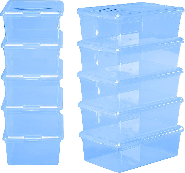 IRIS 6 Quart Modular Storage Box, 18 Pack, bluee