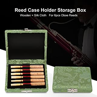 Oboe Reed Case 6 Wooden + Silk Cloth Cover Reed Storage Case Holder Box for 6pcs Oboe Reeds(Green)