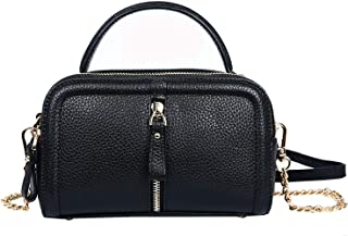 Heshe Leather Handbags for Women Shoulder Tote bag Ladies Satchel Crossbody Bags (R111-Black)