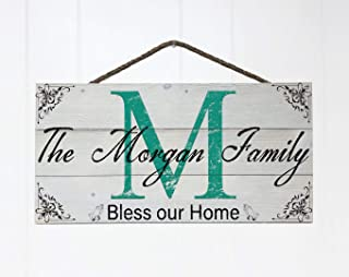 Artblox Personalized Rustic Family Wood Sign Home Decor, Custom Family Initials and Family Name, Real Vintage Barn Wood Farmhouse Style Wooden Wall Art Country Pallet (21
