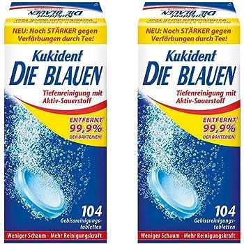 Kukident Die Blauen - Gebissreinigungstabletten für eine Tiefenreinigung mit Aktiv-Sauerstoff - 2er Pack (2 x 104 Tabs)