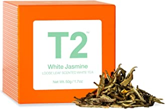T2 Tea White Jasmine Tea, Loose Leaf White Tea in Gift Cube, 50 g