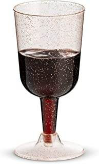 50 Rose Gold Glitter Disposable Wine Glasses | 7 oz. Clear Hard Plastic Fancy Cups for Parties & Weddings (50-Pack) by Bloomingoods
