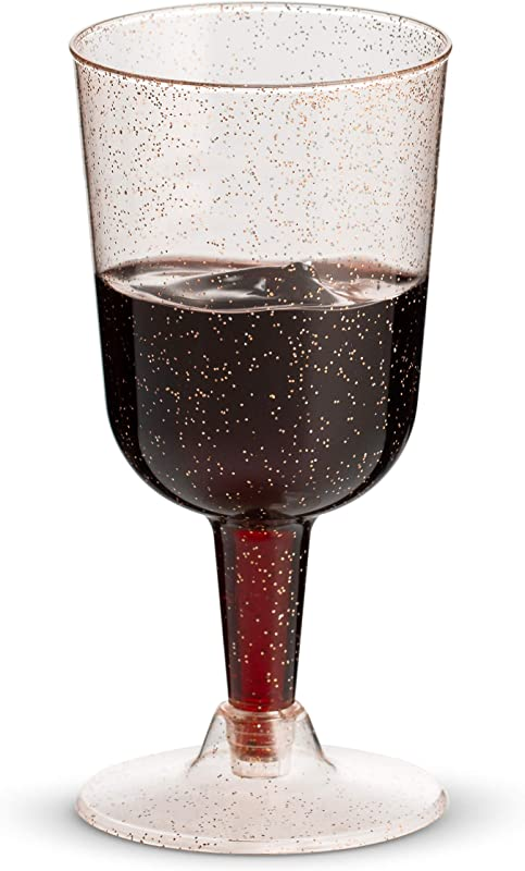 50 Rose Gold Glitter Disposable Wine Glasses 7 Oz Clear Hard Plastic Fancy Cups For Parties Weddings 50 Pack By Bloomingoods
