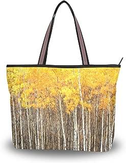 My Daily Women Tote Shoulder Bag Aspen Trees Autumn Handbag Large