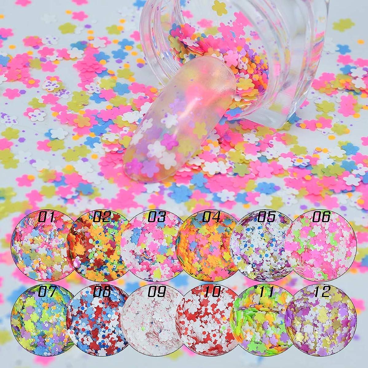 メーリンドス 極薄ネイルパーツスパンコール 可愛いネイルアートパーツ カラフルなシールステッカー 花と六角ミックス入る マットホログラムスパンコール12本セット