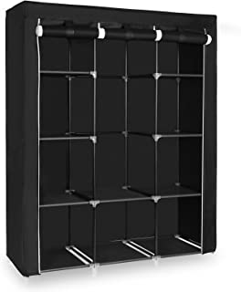 SONGMICS 51 Inch Portable Closet Wardrobe Storage Organizer with 10 Shelves, Quick and Easy to Assemble, Extra Space, Black URYG93BK