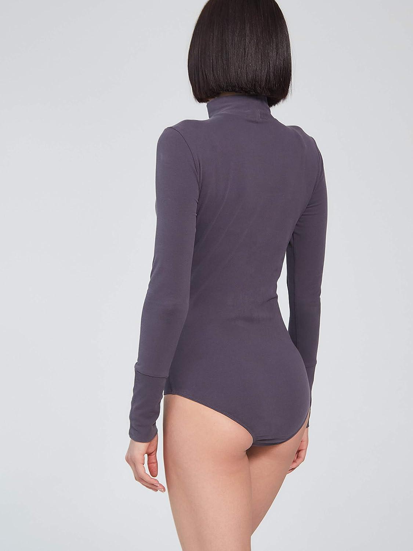 Roxet Long Sleeve Bodysuit Women - Mock Neck Cotton T-Shirts Basic Jumpsuit