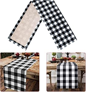 Fowecelt Buffalo Check Table Runner 14 ×108 Inch Cotton Burlap Black White Plaid Reversible Checkered Table Runners for Family Dinners, Christmas Holiday Birthday Party Table Decoration