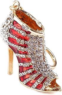 Fdit nyckelring strass kristall högklackad sko dam gåva stilett emalj guld hänge nyckel handväska väska nyckelring kedja