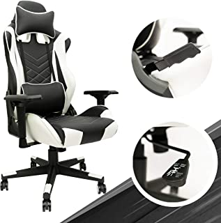 White Gaming Chair - Adjustable Ergonomic Office Chair with PU Leather, Computer Chair with Lumbar Support & 180° Recline,...
