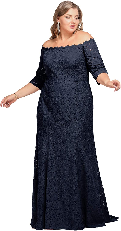 ALICEPUB Off Shoulder Wedding Dress Lace Trumpet Long Formal Dresses for Women Evening Party