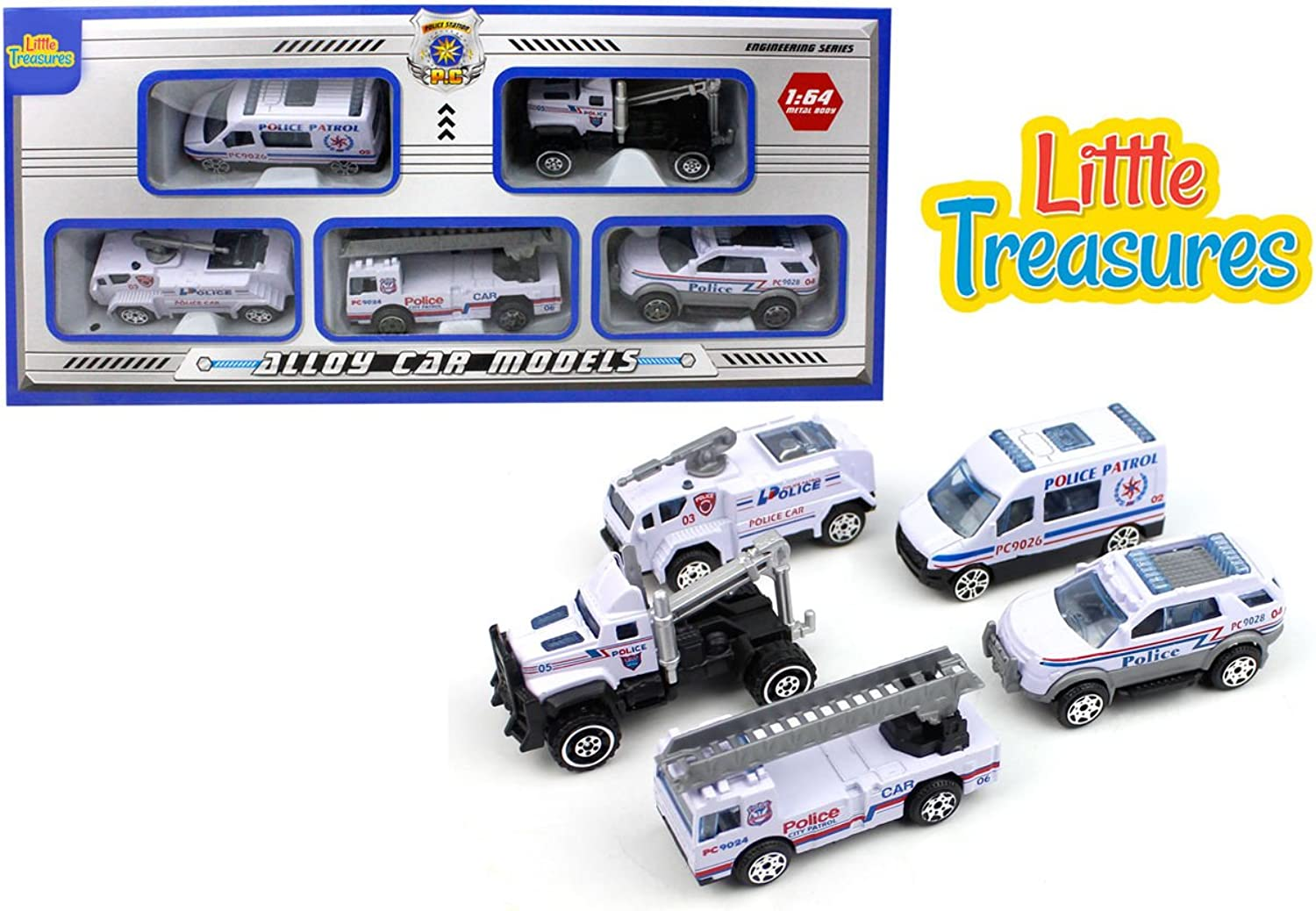 A coolly ordered, disciplined toy  Little Treasure in a telling, white dramatic with distinct alloy car models to effect the Police influence around