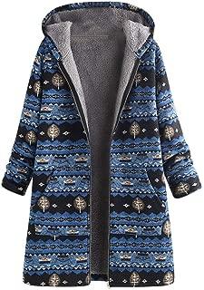 Mayunn Women Winter Warm Vintage Thicking Plush Outwear Floral Print Asymmetrical Zipper Hooded Pockets Oversize Coats Outwear Overcoat (S-5XL)