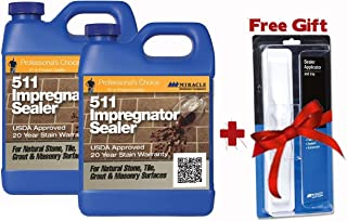 Miracle Sealants 511 Impregnator Penetrating Sealer 64 Oz. Penetrating Sealer (2 Quarts) + Free Mira Brush Applicator and Tray