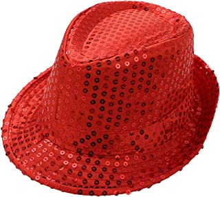 Kids Girls Boys Shiny Party Sequins Fedora Hat Hip Hop Jazz Dance Stage Performance Costumes