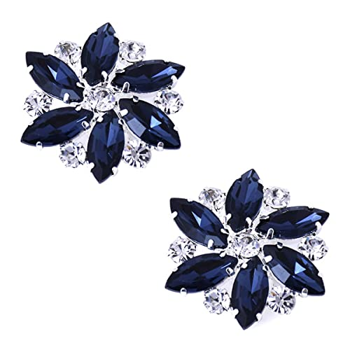 2 Light Navy Large Double Bow Clips for Shoes other colours on request