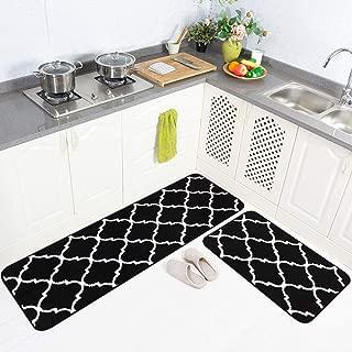 Carvapet 2 Pieces Microfiber Moroccan Trellis Non-Slip Soft Kitchen Mat Bath Rug Doormat Runner Carpet Set, 20