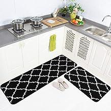 "Carvapet 2 Pieces Microfiber Moroccan Trellis Non-Slip Soft Kitchen Mat Bath Rug Doormat Runner Carpet Set 20""x63""+20""x31""..."