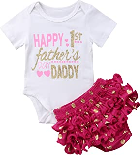 Annvivi Baby Girl Happy 1st Father's Day Daddy Romper+Ruffle Polka Dots Shorts