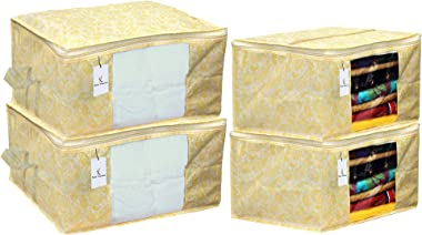 Kuber Industries Metallic Printed Non Woven 2 Pieces Saree Cover and 2 Pieces Underbed Storage Bag, Cloth Organizer for Stora