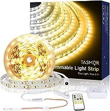 Warm Witte LED-strip, TASMOR LED-strip 5M Dimbaar 2700-6500K, LED-stripverlichting met RF-afstandsbediening voor binnenver...