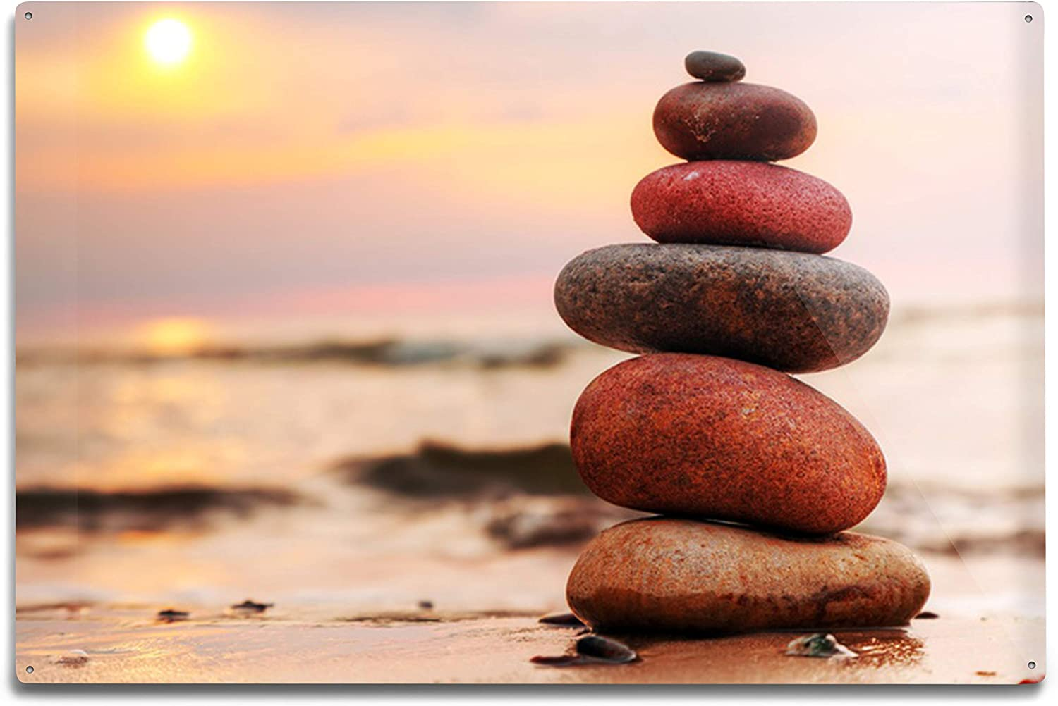 Lantern Press Stacked Zen Stones On Sand Outlet SALE A Sunset Daily bargain sale by Photography