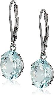 スターリングシルバー 楕円形 人工または本物の宝石 ダングルイヤリング