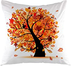 oFloral Autumn Tree Decorative Throw Pillow Cover Fall Maple Pillow Case Square Cushion Cover for Sofa Couch Home Car Bedroom Living Room Decor 18 x 18 Brown Orange
