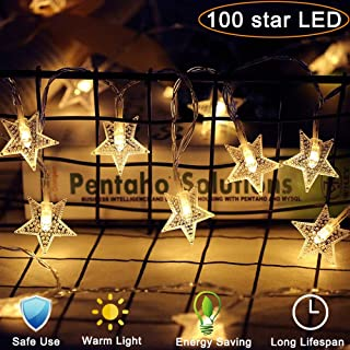 SRK Star String Lights, 100 LED 33 Ft 8 Modes, Plug in Fairy Twinkle Lights Waterproof for Outdoor, Indoor, Wedding Party, Christmas Tree, New Year, Garden Decoration, Bedroom (Warm White,2 Pack)