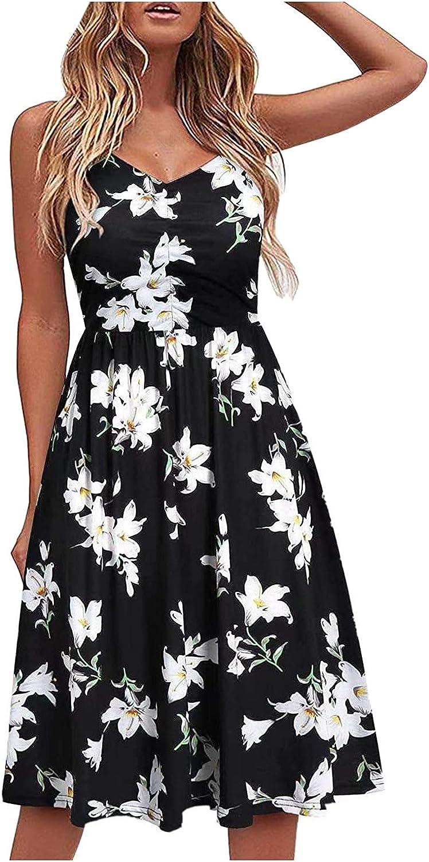 Eduavar Summer Dresses for Women, Womens Floral V Neck Spaghetti Strap Sundress Swing Ruffle Casual Mini Short Dresses