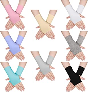 8 Pairs Sunblock Fingerless Gloves UV Protection Wrist Length Sun Block Driving Gloves for Outdoor Activities, 8 Colors