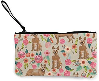 Australian Cattle Dog Florals Sand Red Heeler Multifunctional Portable Canvas Coin Purse Phone Pouch Cosmetic Bag,Zippered Wristlets Bag