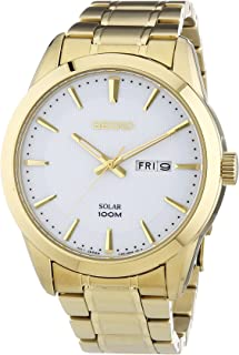 Solar SNE366 Mens Wite Dial Stainless Steel Gold Tone Watch