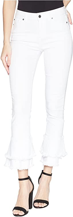1.STATE Five-Pocket Ruffle Frayed Hem Skinny Jeans in Ultra White