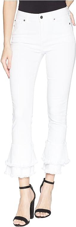 Five-Pocket Ruffle Frayed Hem Skinny Jeans in Ultra White