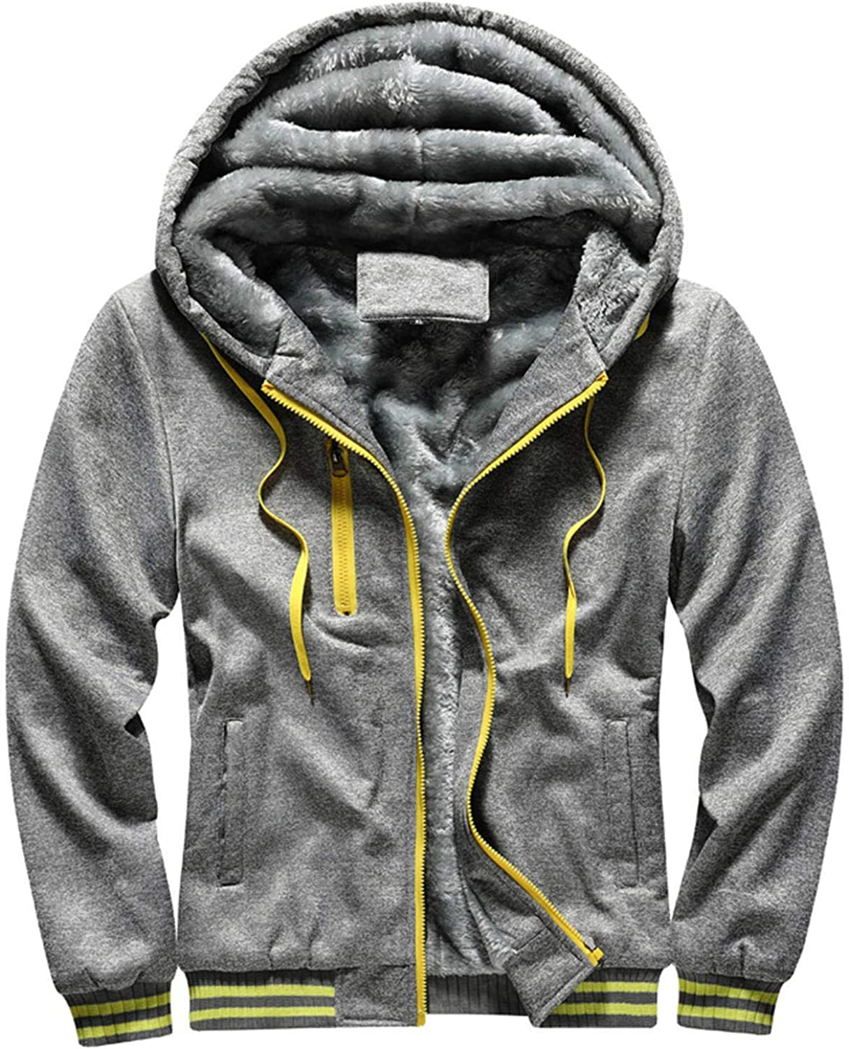 Soluo Clearance Men's Pullover Winter Workout Fleece Hoodie Jackets Full Zip Wool Warm Thick Coats (Gray,Large)