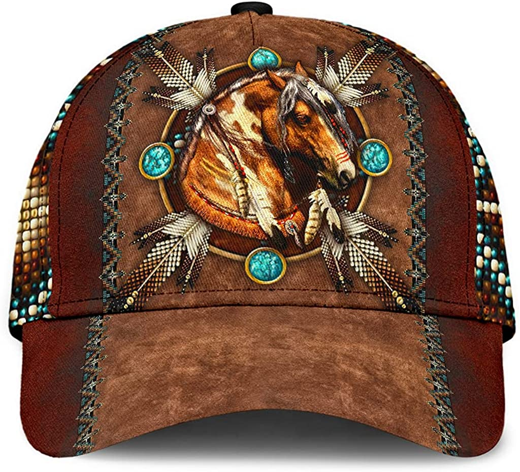 Horse Native American Classic Cap Baseball Cap for Men Cap for Women with Adjustable Strap Sprots Soft Caps Outdoor
