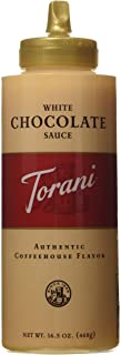 Torani White Chocolate Sauce,16.5 oz Squeeze Bottle (New Packaging)