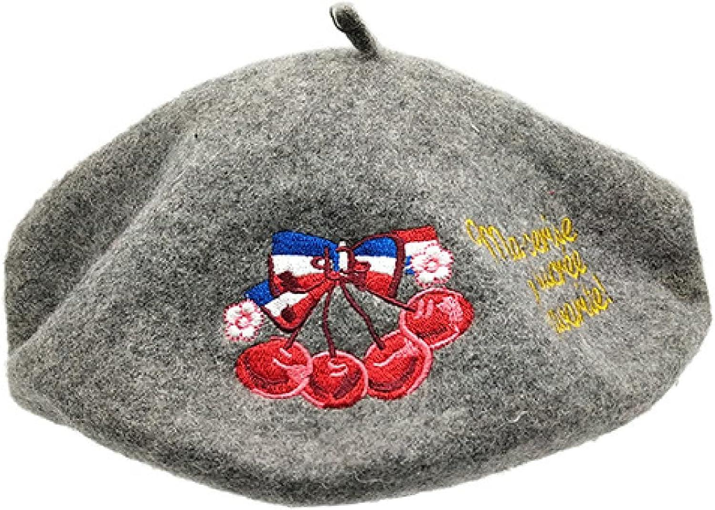 AOBRICON Winter Fashion Berets for Women Retro Cherry Letter Embroidered Bud Cap Korean British Beret Cap Artist Women's Hats