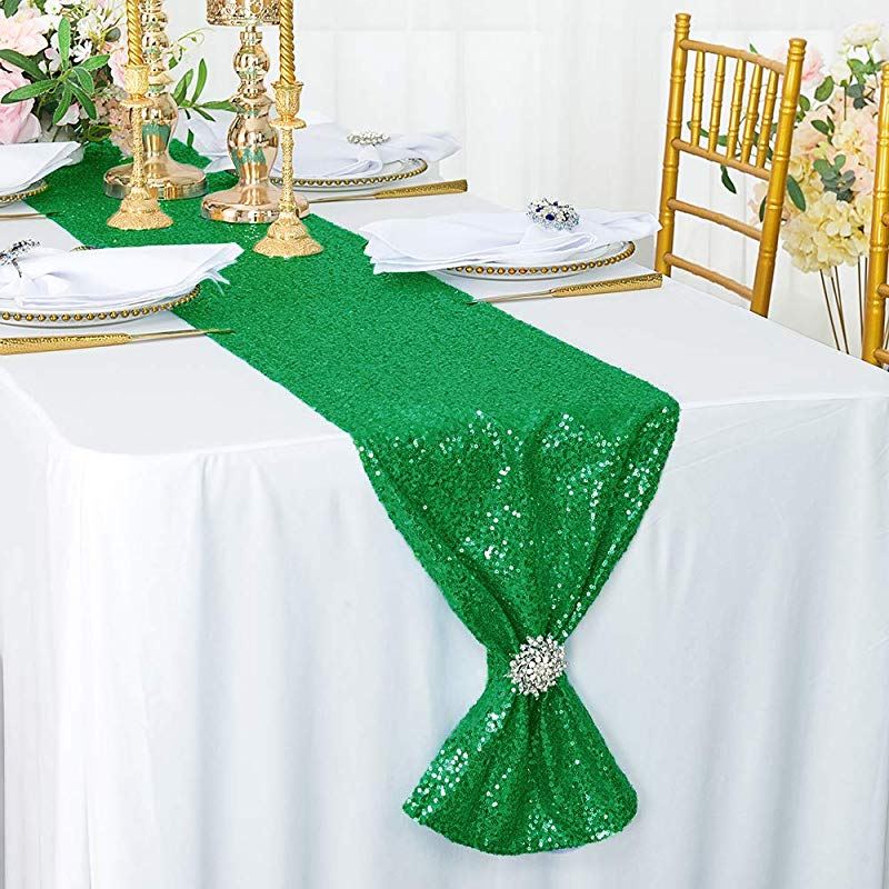 Wedding Linens Inc 12 X 108 Sequin Taffeta Table Runner Gitter Table Runners For Restaurant Kitchen Dining Wedding Party Banquet Events Emerald Green