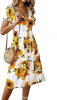 Women's Dresses- Summer Boho Sunflower Button V Neck Short Sleeve Midi Skater T Shirt Sundress with Pockets
