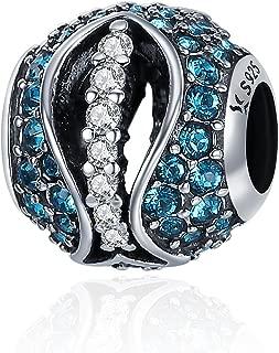 Everbling Forever Love Heart Swan Flower Sparkling CZ 925 Sterling Silver Bead Fits European Charm Bracelet