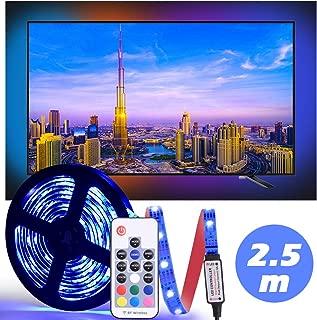 LED Tira De TV, Diyife 2.5M 75 Leds Multicolor RetroiluminacióN con FR Remoto de TV 5050RGB Bias LluminacióN para HDTV de 40-60 Pulgadas, Alimentado por USB para TV/PC